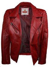 Ladies Women Genuine Real Leather Slim Fit Red Biker Jacket