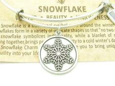 "Authentic Wind And Fire ""Snowflake"" Charm Wire Bangle Bracelet Made In The USA"