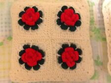 Pair of Hand Crochet Home Made Christmas Red & Green Flower Med Throw Pillows