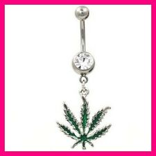 PIERCING NOMBRIL RASTA REGGAE CANNABIS BELLY BUTTON NAVEL BAR RING LEAF BODY