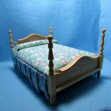 Dollhouse Miniature Double Bed in Oak with Floral Material ~ CLA10757