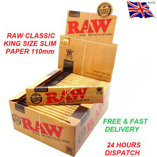 RAW CLASSIC King Size Slim 110mm Natural Unrefined Rolling Papers Full Box 50