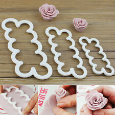 3pcs 3D Rose Petal Flower Cutter Fondant Cake Sugarcraft Decorating Mould