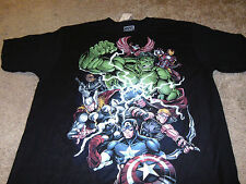 Marvel Comics Mens Hulk Iron Man Thor Captain America Black T-Shirt XL
