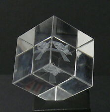 "SOLID GLASS CUBE    1-1/2"" CUBE   WITH ANGLE CORNER EDGE   EMBEDDED DESIGNS"