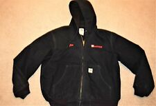 CARHARTT Mens J131 BLK  Canvas poly waffle weave lined hooded hood coat jacket L