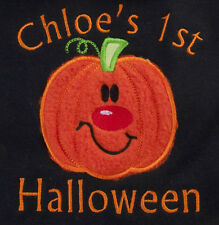 Personalised Embroidered Name BIB Baby Boy Girl Halloween Pumpkin spider my 1st