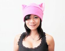 Pussy fleece Kitty Cat ear beanie Pink hat cosplay anime manga goth punk ski