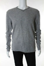 Kokun Men's Heather Gray Cashmere Long Sleeve V-Neck Sweater Size Small