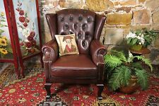 Vintage Leather Chesterfield Wingback Armchair Lounge Chair~Burgundy