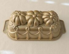 Nordic Ware Williams Sonoma Gold Tone Cast Aluminum Pumpkin Harvest Loaf Pan New