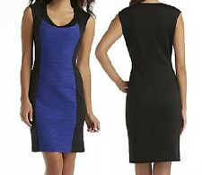 Ronni Nicole Cap-Sleeved Cobalt Blue/Black Color Block Sheath Dress, Sz 10 - $88