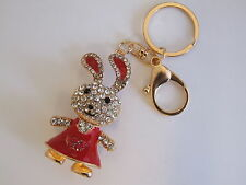 HANDBAG BUCKLE CHARMS CRYSTAL & RED ENAMEL BUNNY RABBIT KEYRINGS KEY CHAIN