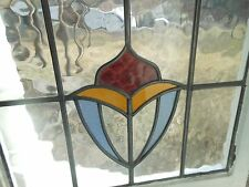 R288 Lovely Older Multi-Color English Leaded Stained Glass Window