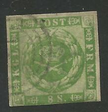 Denmark Stamp Scott #8 from Quality Old Album 1858