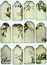 A/4 Scrapbook Paper  Gift & Hang Single Sheet 12 Tags Christmas Mistletoe