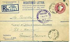 North Ireland Irlande Ulster 1951 Lurgan entier postal Stationery Registered