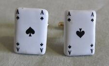 Men Vintage ACE of SPADES CUFFLINK Costume Jewelry Accessory KK38