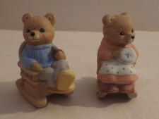 "Homco Set 2 Rocking Chair Bears Grandparents Animals Collectibles 2.25"" Tall"