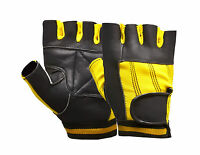 New Leather Bus Driving Gloves Finger Less Wheelchair Cycling Gym Training Bike