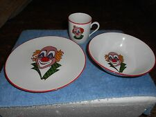 CIRCUS CLOWN PLATE CUP & BOWL SET BAREUTHER WALDSASSEN BAVARIA GERMANY #133