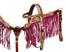PONY Leather Bridle & Breastcollar Set w/ Hand Painted Tooling & PINK Fringe NEW