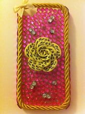 NEW iPhone 5 & 5s Case/Cover,3D Leopard Print Flower,Gold Cord & Bow,Silver Gems