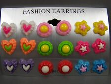 Heart Flower Circle set pack of 9 pair plastic post stud earrings metal back pkC