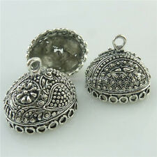 18715 5PCS Vintage Silver Oval Beads Cap Filigree Dangle Pendant Tassels End