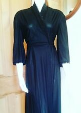 VINTAGE 1940s/50s Black Nylon Full Length Long  Lacy Nightgown/ Dressing Gown- S