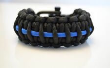 Deluxe Police thin blue line - 550 paracord survival bracelet - adjustable