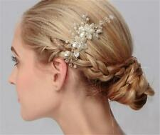 Pearls Hair Comb Rhinestone Wedding Headdress Crystal Bridal Accessories 1 Piece