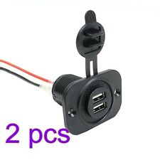 2pcs Car Cigarette Lighter Socket Splitter 12V 2 Port USB Charger Power Adapter