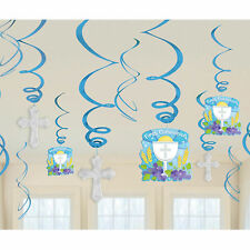 12 Blue Boy's 1st Holy Communion Party Hanging Cutout Foil Swirls Decorations