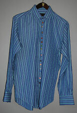 Etro Milano Blue Striped Colorful Buttons Long Sleeve Shirt / Men's Size 40