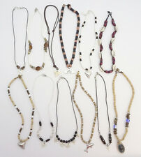 12 New Assorted Surfer Shell Coco Bead Shark Tooth Necklace Lot #12SURFLOT