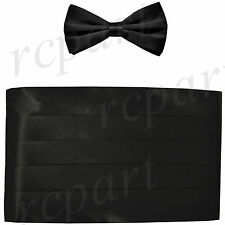 New Vesuvio Napoli 100% Silk Cummerbund and Bowtie Set Formal Wedding Prom Black
