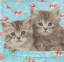 2 Serviettes en papier chat chatons Romeo & Julia - Paper Napkins Cat