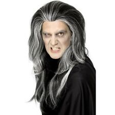 Men's Vampire Wig Black Long & White Highlights Gothic Halloween Fancy Dress Fun