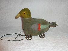 Antique Felt Duck Pull Toy, Metal Wheels, Wooden Squawk Box