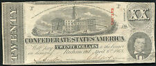 1863 $20 TWENTY DOLLARS CSA CONFEDERATE STATES OF AMERICA