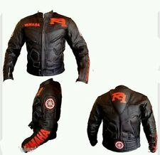 YAMAHA R1 MOTORBIKE LEATHER JACKET: CE APROVED FULL PROTECTION