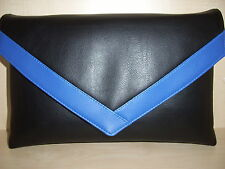 OVER SIZED BLACK AND ROYAL BLUE faux leather envelope clutch bag, fully lined