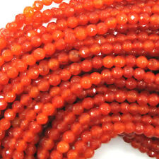 "4mm faceted jade round beads 15"" strand orange red"