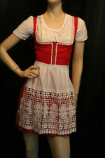 XS~S VTG 3 PC AUSTRIAN ROSE RED WHITE EMBROIDERED DIRNDL DRESS BLOUSE TOP APRON