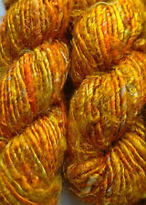 Sari Silk Multi-Gold/Orange Yarn 100g approx for Textile Art/Crafts