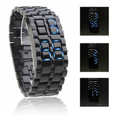New Cool Digital Unisex Blue LED Wrist Watch Black Adjustable Men Bangle watch