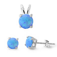 Blue Australian Opal .925 Sterling Silver Earrings & Pendant Set .5""