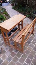 Antiquité Scolaire Table Pupitre avec Banc 2 places Ecole Bois Chêne 1950