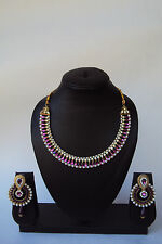 Ethnic Designer Indian Bollywood Style Fashion Polki Kundan Jewelry Necklace Set